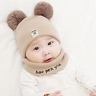 Mũ len 2 quả bông kèm khăn cho bé - màu ngẫu nhiên thumbnail