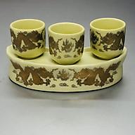 Bộ cúng nước thờ 3 ly bằng gốm sứ rồng vàng KH12069 thumbnail