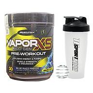 Combo Pre-Workout Vapor X5 của MuscleTech hương Blue Razz Freeze hộp 30 lần dùng hỗ trợ Tăng Sức Bền, Sức Mạnh & bình lắc 600 ml (Màu Ngẫu Nhiên) thumbnail