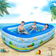 Bể Bơi Phao Mini Cho Bé, Hình Chữ Nhật, Bể Bơi Tập Bơi Mùa Hè Nhiều Kích Thước, Có Đáy Chống Trượt thumbnail
