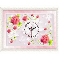 Tranh đính đá đồng hồ hoa hồng ( màu hồng) DLV011 Kích thước 80cm x 53cm thumbnail