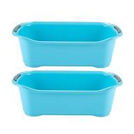 Bộ 2 khay chứa đồ dùng phòng tắm tiết kiệm không gian (màu xanh) - Hàng nội địa Nhật thumbnail