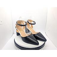 Giày cao gót nữ Sandal Cao Gót Nữ Da Mềm Màu Đen Thời Trang Nữ Cao Cấp Phối Màu Đen Trắng Đế Vuông Cao 7 Phân Phong Cách Hàn Quốc YUUNACG140 thumbnail