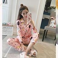 Đồ bộ Pijama lụa áo dài tay, quần dài - Đồ Mặc Nhà Nữ Cao Cấp Hàng Loại 1 Mềm Mại B57 thumbnail