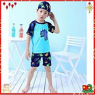 Bộ Đồ Bơi Khủng Long Xanh Dành Cho Bé Trai CaoTừ 85cm - 125cm chất vải Polyeste thân thiện với trẻ em - Tặng kèm nón bơi vải cùng màu - Xanh - 2XL thumbnail