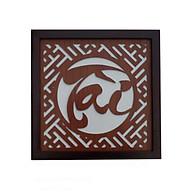 Tấm chống ám khói chữ Tài , mẫu chữ Thư pháp nét nhỏ, khung gỗ sồi phun mầu nâu gụ BH685 thumbnail