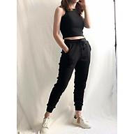 Quần Jogger len gân bassic 2 màu đen, ghi thumbnail