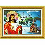 Tranh thêu chữ thập 3D Lạy Chúa con tinh cậy vào Ngài (57 40cm) chưa thêu thumbnail