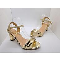 Giày cao gót nữ Sandal Cao Gót Nữ Màu Vàng Đẹp Hở Mũi Da Bóng Xen Kẽ Quai Cài Ngang Đẹp Phong Cách Hàn Quốc 7 Cm, 7 Phân Đế Cao Vuông Cao Cấp CGPN095-YN121 thumbnail