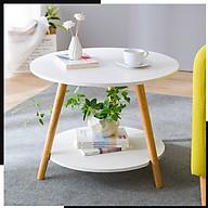 Bàn Trà Cafe 2 Tầng Chân Gỗ Sồi thumbnail