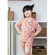 Bộ ngủ Pijama bé gái áo quả chanh hồng size 15kg đến 20kg thumbnail