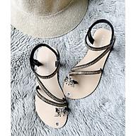 Xăng đan nữ xỏ ngón gắn khóa đính đá quai chun siêu êm chân-hàng hót 2021 thumbnail