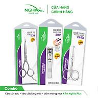 [Limited Edition] Combo kéo cắt tóc - kéo cắt lông mũi - bấm móng Kềm Nghĩa Plus thumbnail