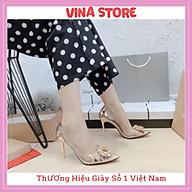 Giày Cao Gót Nữ 7Cm 9cm [9P] Mũi Nhọn Quai Trong Hoa Đá Đế Nhọn Hottrend 2021 -mã VNST0012 thumbnail