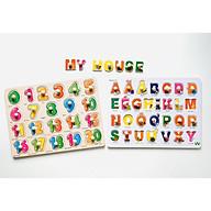 Đồ chơi trí tuệ- Đồ chơi thông minh cho bé bằng gỗ- combo bảng núm gỗ chữ và số MK00113 thumbnail