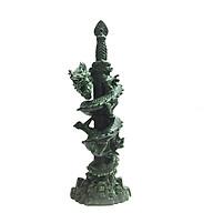 Tượng Đá Trang Trí Rồng Phong Thủy - Kiếm Rồng Cao 41cm - Đá Xanh Lục Bích thumbnail