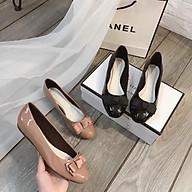 Giày bệt búp bê mũi vuông đế bằng thời trang phối nơ xinh _A028NX thumbnail