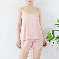 FEMEI - Đồ bộ mặc nhà áo 2 dây quần ngắn satin ECOM003 thumbnail