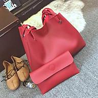 Túi xách nữ thời trang công sở đẹp cao cấp set 2 món túi và ví cầm tay trơn thumbnail
