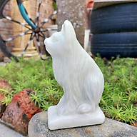 Tượng mèo tuổi Mẹo phong thủy 12 con giáp đá trắng xanh cao 12cm - đá Non Nước thumbnail