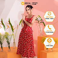 Váy đầm hai dây đỏ hoa trắng MECIA DK632 - Thiết kế ôm, thắt eo, chất lượng mềm mịn cao cấp, kiểu dáng xòe thumbnail