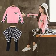 BTG12 Size110-160 Đồ bộ cho bé gái, kiểu dáng học sinh cá tính Thời trang trẻ Em hàng quảng châu thumbnail