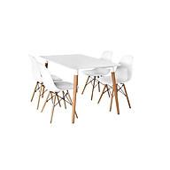 Bộ bàn TH04 4 ghế 800x1200x750mm - Trắng thumbnail