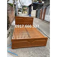 Giường sắt hộp vuông 4x8 màu nâu giả gỗ cao cấp dành cho gia đình thumbnail