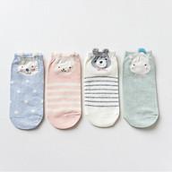 Set hộp 4 đôi tất nữ NICESOKS chất liệu cotton cao cấp, ngắn cổ thể thao, họa tiết hình thú cute , hàng chính hãng thumbnail