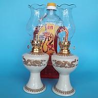 Cặp đèn thờ (vàng kem) sứ Bát Tràng kèm 1 dầu đốt Lưu Ly không mùi không khói thumbnail