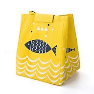 Túi Đựng Hộp Cơm Giữ Nhiệt Đa Năng Họa Tiết Cá Và Sóng Biển Siêu Hot - Vàng thumbnail