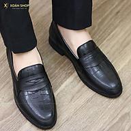 Giày Lười Nam Đẹp Da Bò Dập Vân Cá Sấu Mã G046 Màu Đen thumbnail