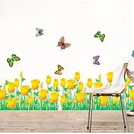 Decal dán chân tường hoa hồng vàng cho bé AY7025 thumbnail