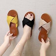 Dép lê nữ thời trang đế bằng quai chéo da lộn siêu mềm êm chân-DL39 thumbnail