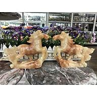 Cặp Ngựa phong thủy rước công danh tài lộc đá cẩm thạch vân gỗ - Dài 20 cm thumbnail