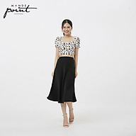 Áo kiểu tay ngắn nữ Monde Point MPWA06136101 hoa Cúc đen nền trắng thumbnail
