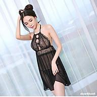 Che Tên - Đầm Ngủ Ren Cổ Yếm Tặng Quần Lọt Khe Erotic Lingerie Sleepwear pajamas BCS21 T 1125 thumbnail