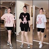 Đồ mặc nhà nữ dạng đùi tay lỡ in hình thỏ hồng dơ tay dễ thương, Đồ bộ mặc nhà cao cấp quần đùi cực dễ thương thumbnail