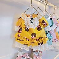 Bộ Ngủ Pijama Cộc Tay Bé Gái Chất Kate Hàn Phối Viền Ren - Babi mama thumbnail
