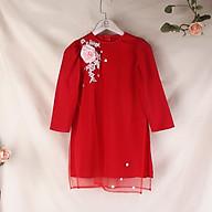 Áo dài cách tân bé gái màu đỏ đính hoa thumbnail