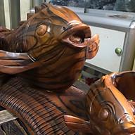 Cá Chép Phong Thủy Mẹ Con Gỗ Gõ Pu Vân Sọc Đen Đậm Đẹp 60cm Cao 30cm Ngang 25cm Có Cá Có Tiền Để Bàn thumbnail