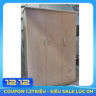 Tủ nhựa đài loan 3 cánh 2 ngăn kéo màu vân gỗ trắng thumbnail