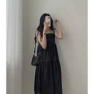 váy suông nữ - đầm suông dáng dài 2 dây buộc vai chất đũi xinh xắn thumbnail
