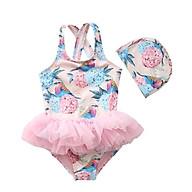 Bộ đồ bơi liền kèm mũ dành cho bé gái đi biển mã C36 thumbnail