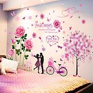 Decal dán tường Hoa hồng phấn và cây trái tim 2 - HP420 thumbnail