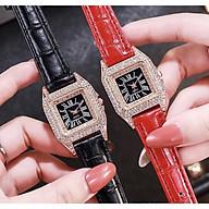 Đồng hồ thời trang nữ D4 dây da mặt vuông đen đính cườm sang trọng SC565 thumbnail