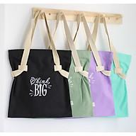 Túi tote vải canvas đựng giấy A4 phom đứng phối dây đai cotton in chữ think big thời trang COVI nhiều màu sắc T17 thumbnail