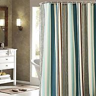 Rèm che phòng tắm chống thấm cao cấp, màu xanh kẻ, kèm theo móc, có 3 loại kích thước HT714 thumbnail