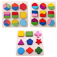 Đồ chơi gỗ giáo cụ Montessori combo 3 bảng lắp ghép hình khôi - TotdepreHH1042 thumbnail