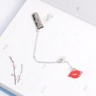 Bookmark Kẹp Sách Kim Loại Phối Charm Hình Đôi Môi Chúm Chím thumbnail